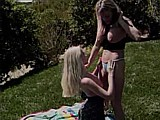 Lesbians In The Park :: Hot exhibitionist lesbians get it on in the park
