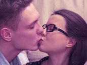 Small nerdy girl having romantic sex