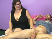 Stepmom mature Shibari is jerking young hard dick