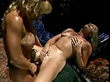 Strap On Fucking Outside :: Two hot blondes have sex together
