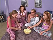Teen Sleepover Turns Dirty :: 4 horny Teens experiment with each other
