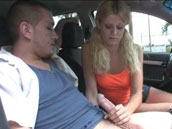 Young blonde giving deepthroat in the car